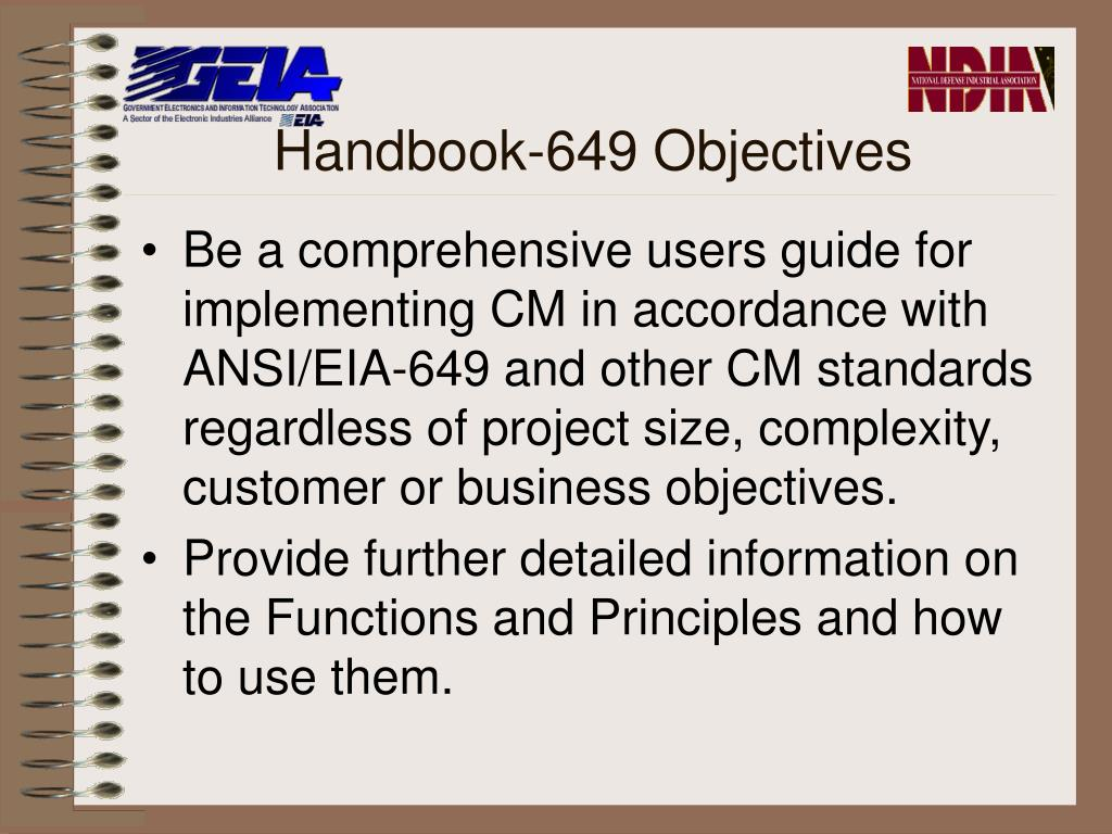 Handbook-649 Objectives