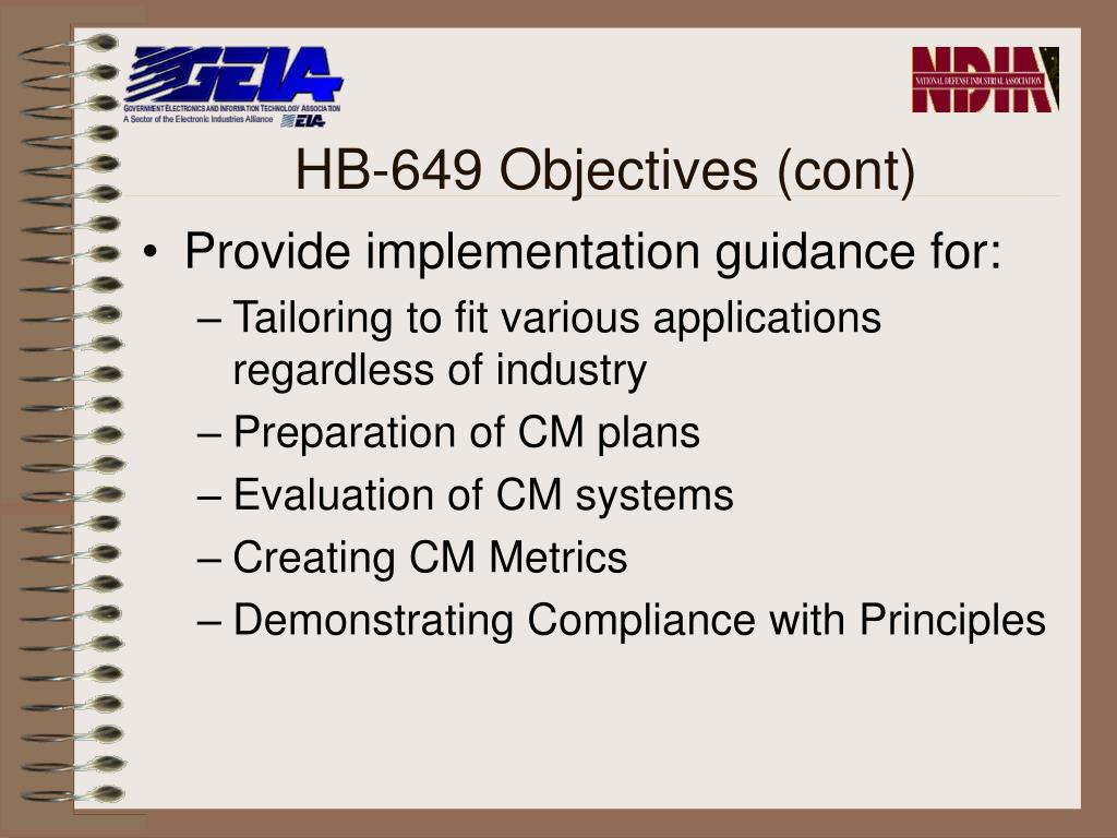 HB-649 Objectives (cont)