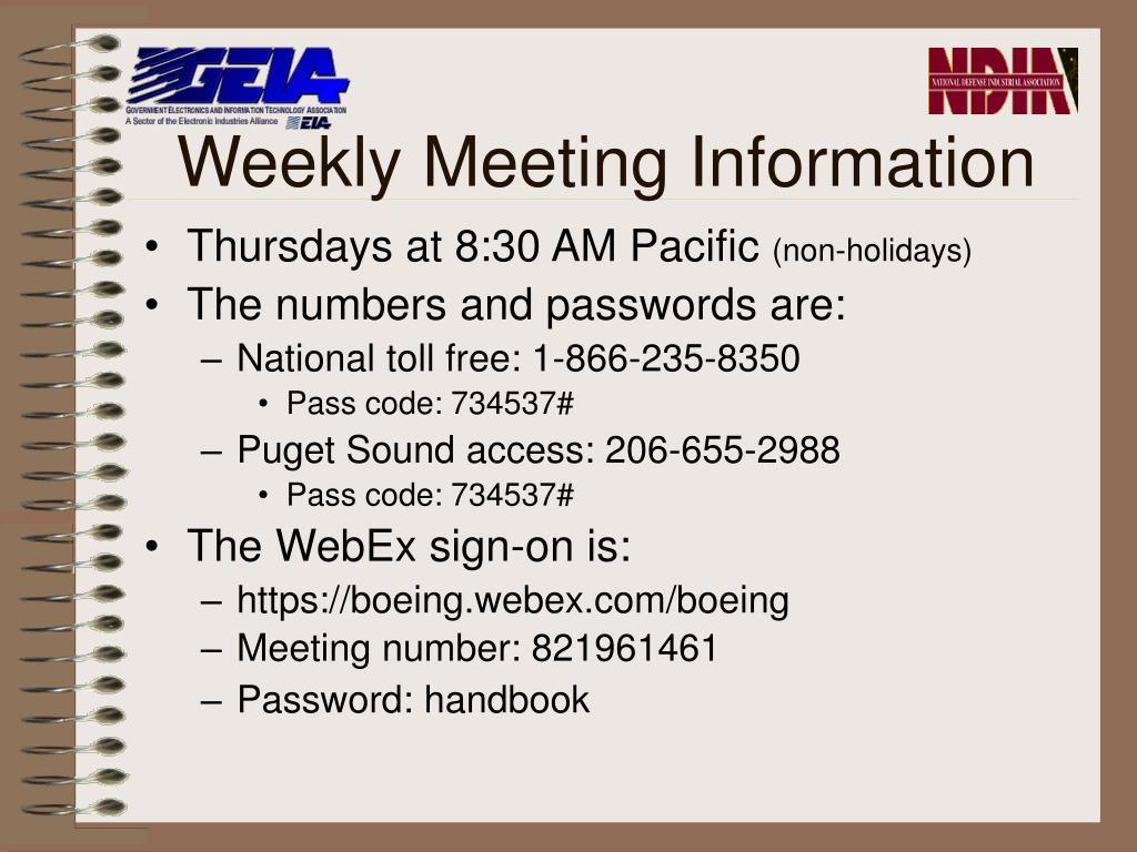 Weekly Meeting Information