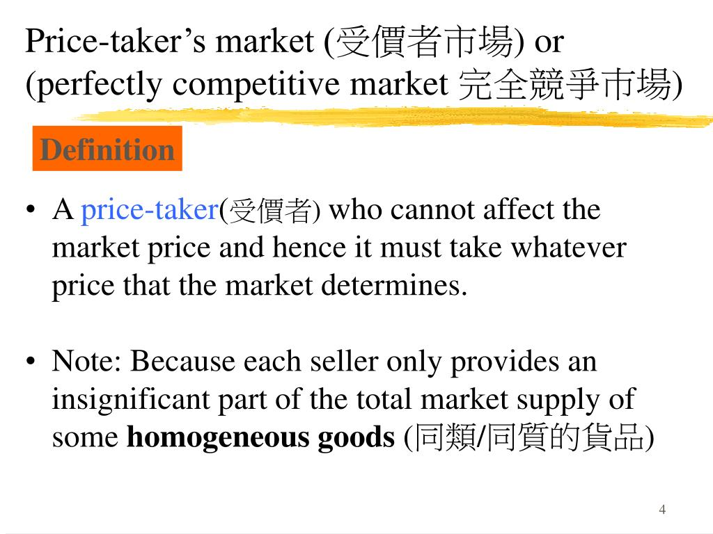 Price-taker's market (