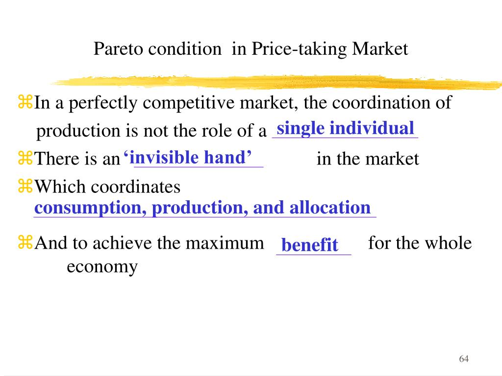 Pareto condition  in Price-taking Market