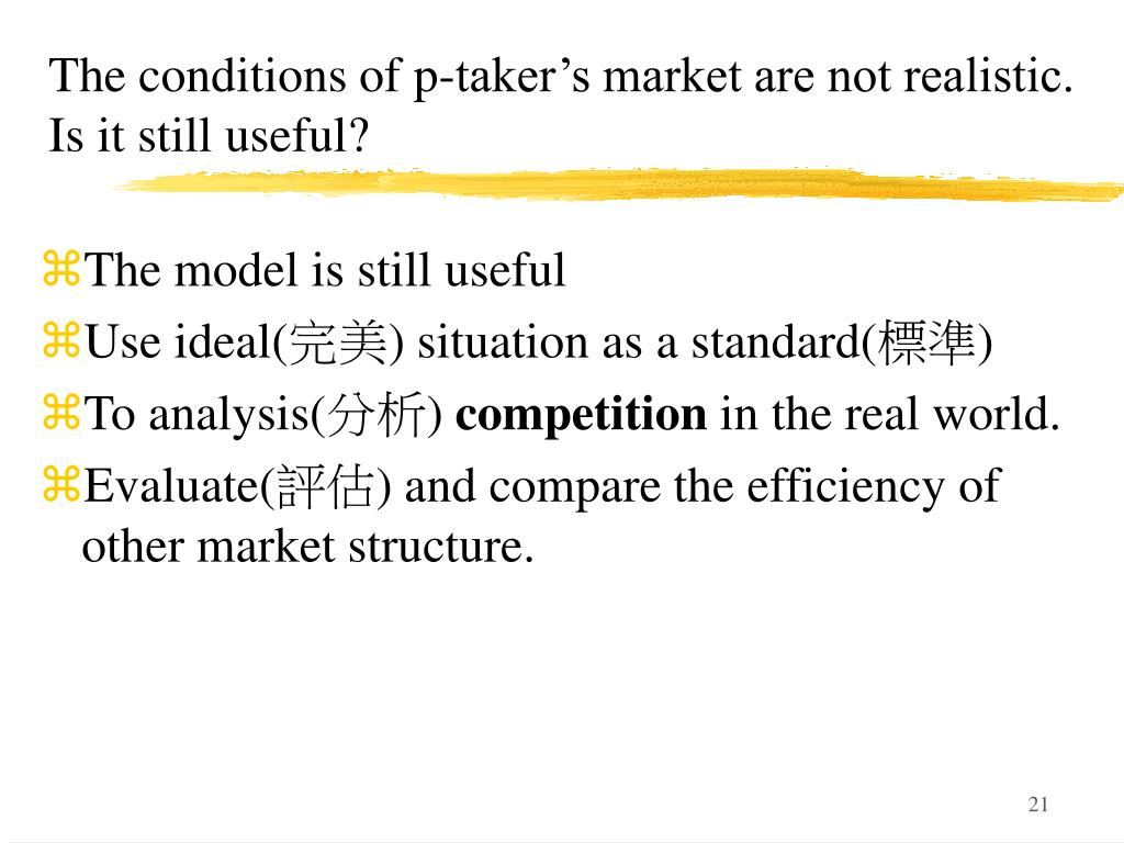 The conditions of p-taker's market are not realistic. Is it still useful?