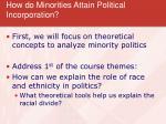 how do minorities attain political incorporation