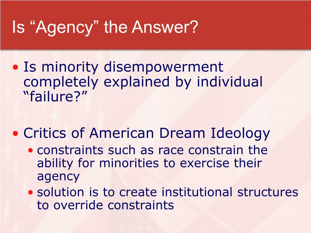"Is ""Agency"" the Answer?"