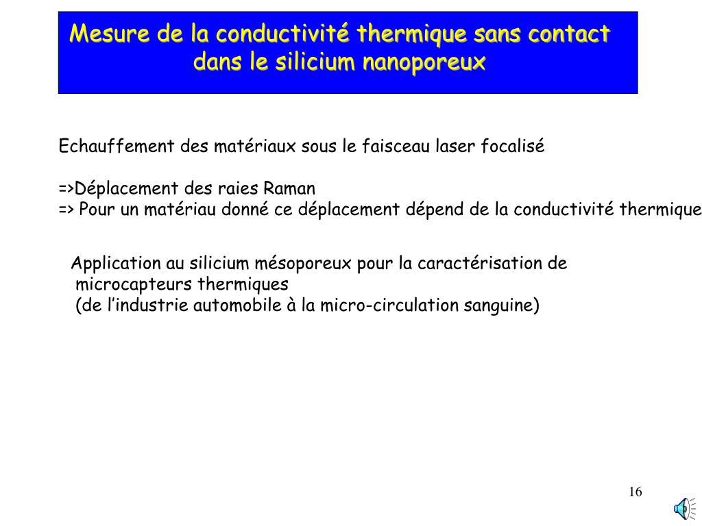 Mesure de la conductivité thermique sans contact dans le silicium nanoporeux