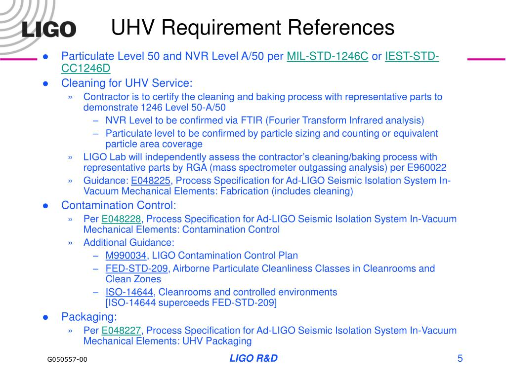 UHV Requirement References