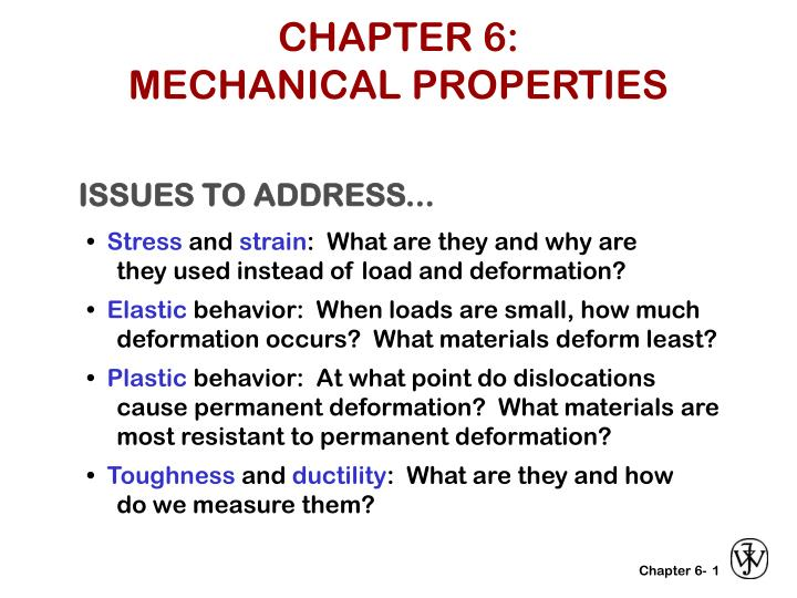 Chapter 6 mechanical properties
