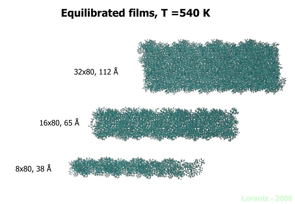 Equilibrated films, T =540 K