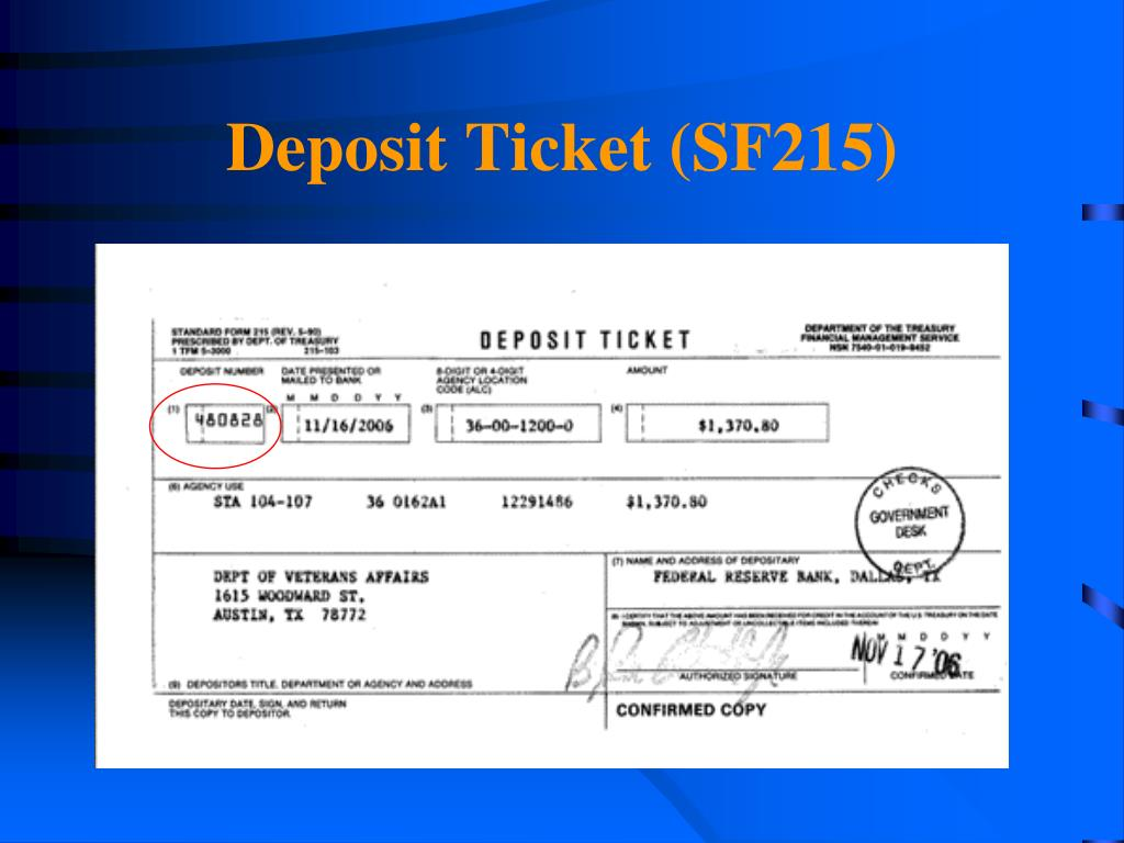 Deposit Ticket (SF215)
