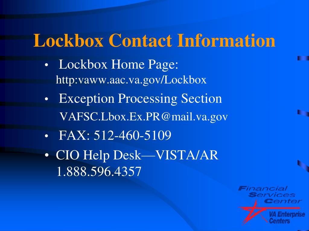 Lockbox Contact Information
