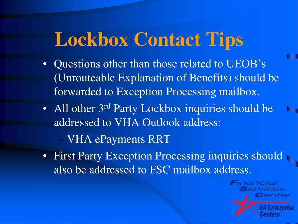 Lockbox Contact Tips