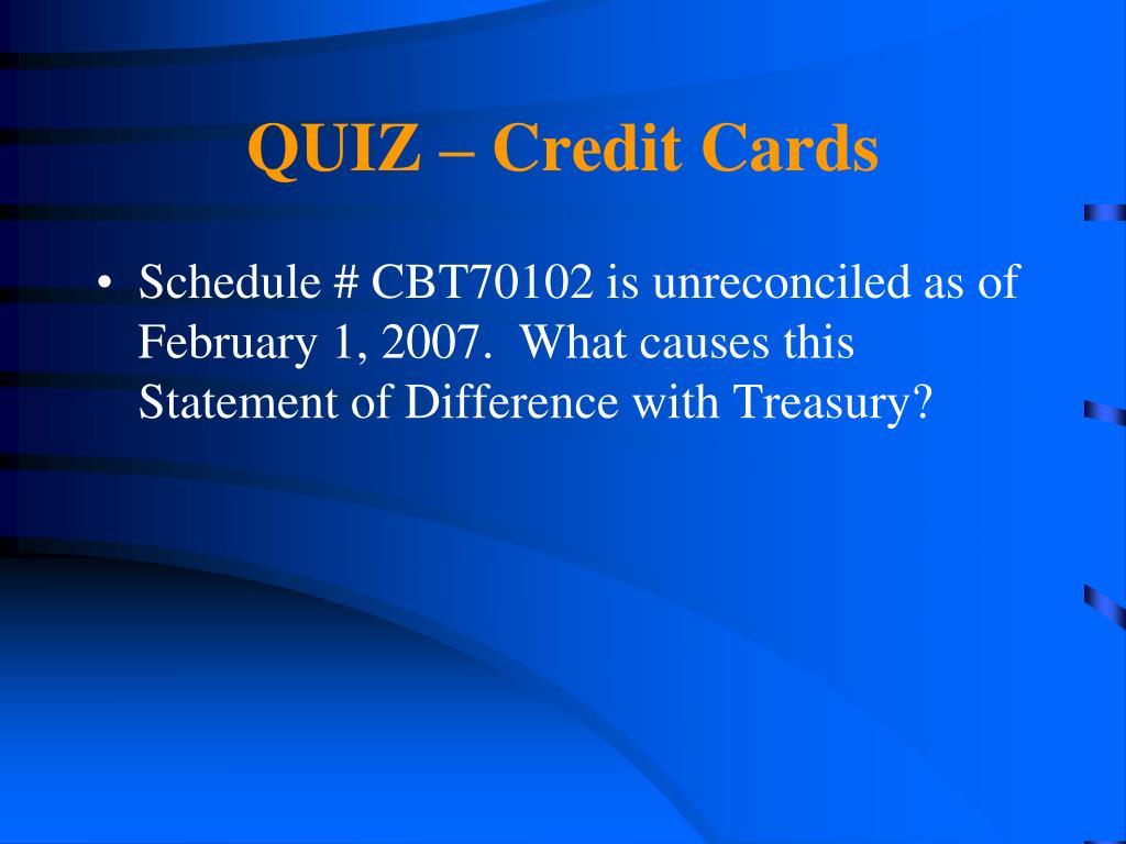 QUIZ – Credit Cards