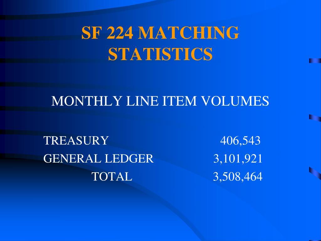SF 224 MATCHING STATISTICS