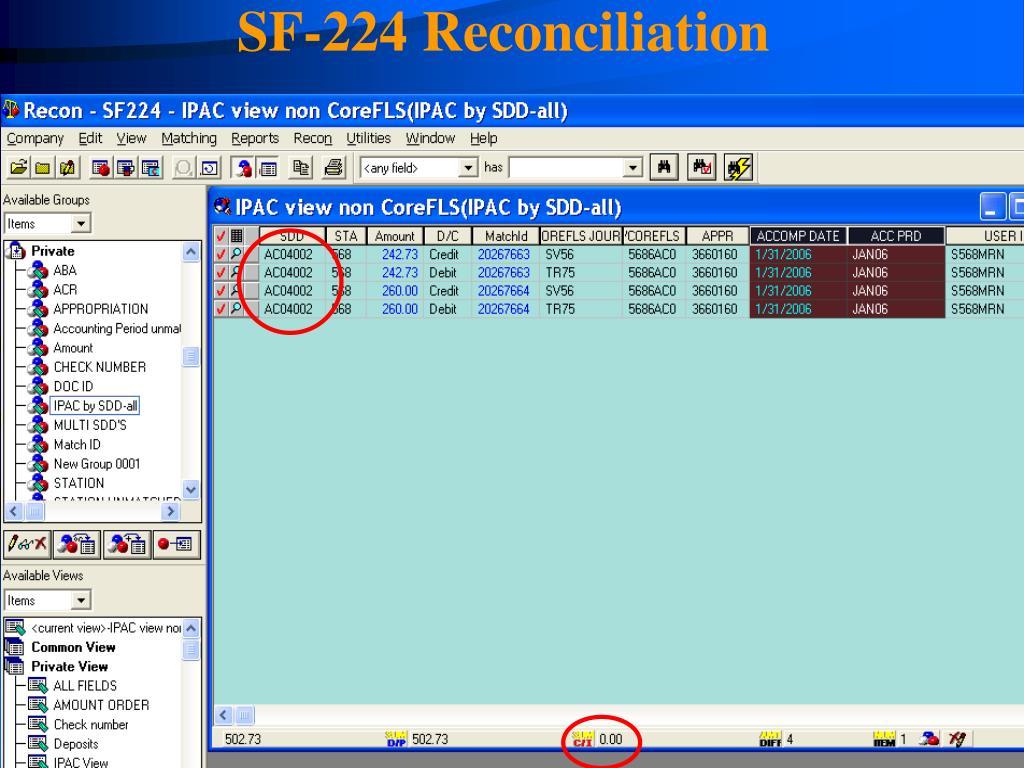 SF-224 Reconciliation