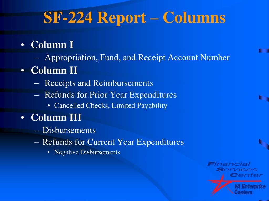 SF-224 Report – Columns