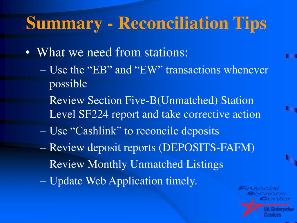 Summary - Reconciliation Tips