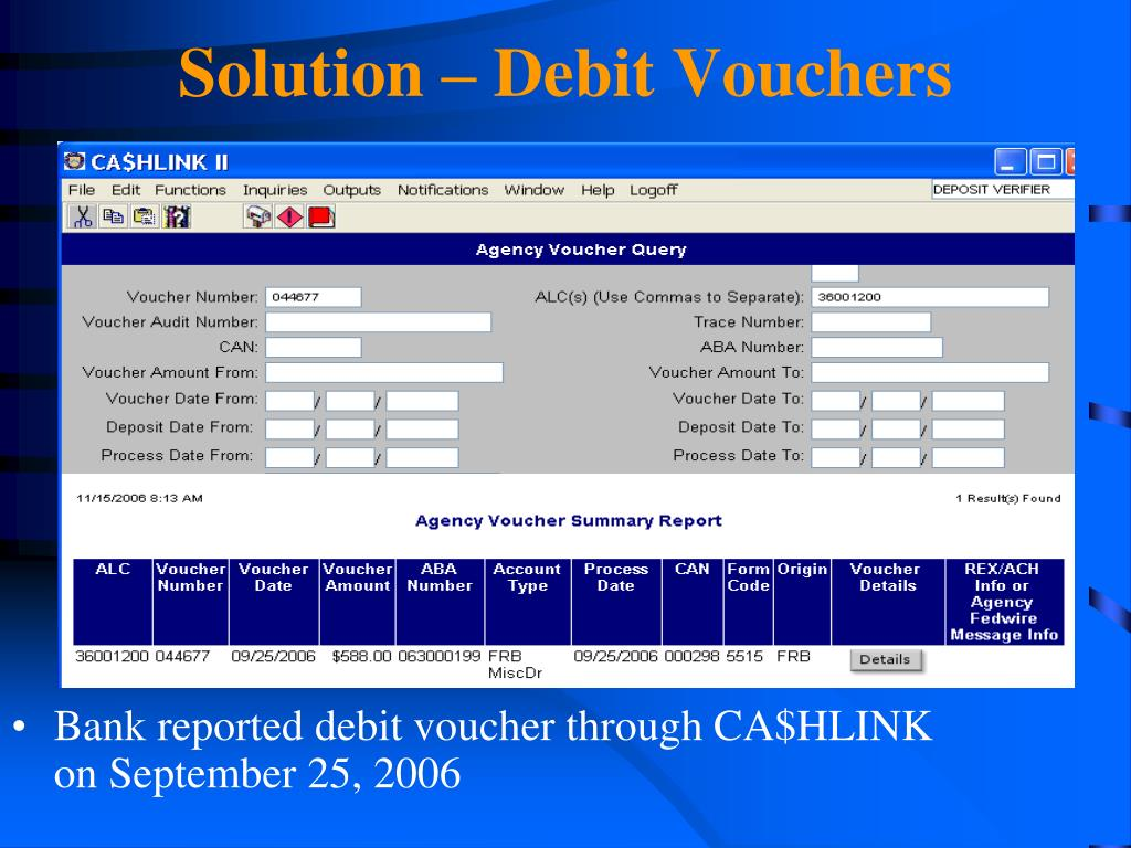 Solution – Debit Vouchers