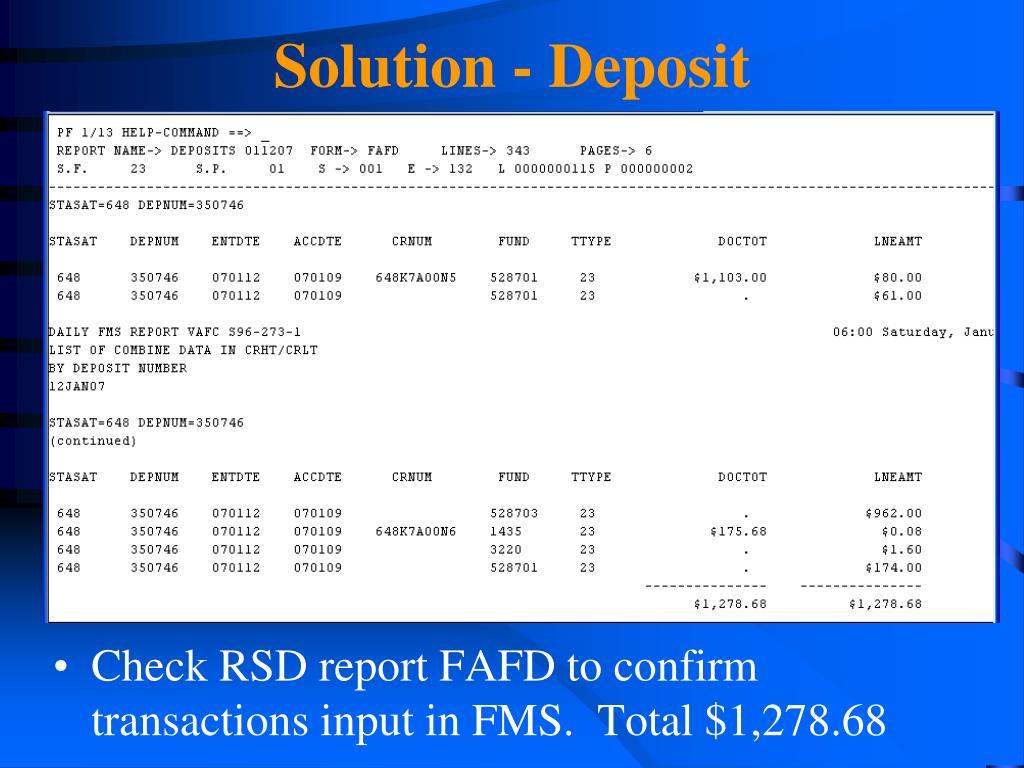 Solution - Deposit