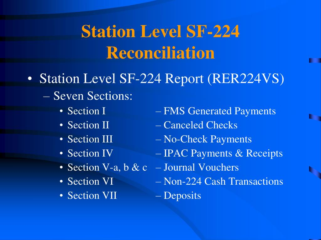 Station Level SF-224 Reconciliation