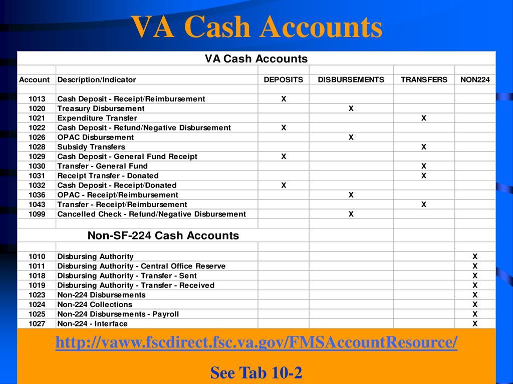 VA Cash Accounts