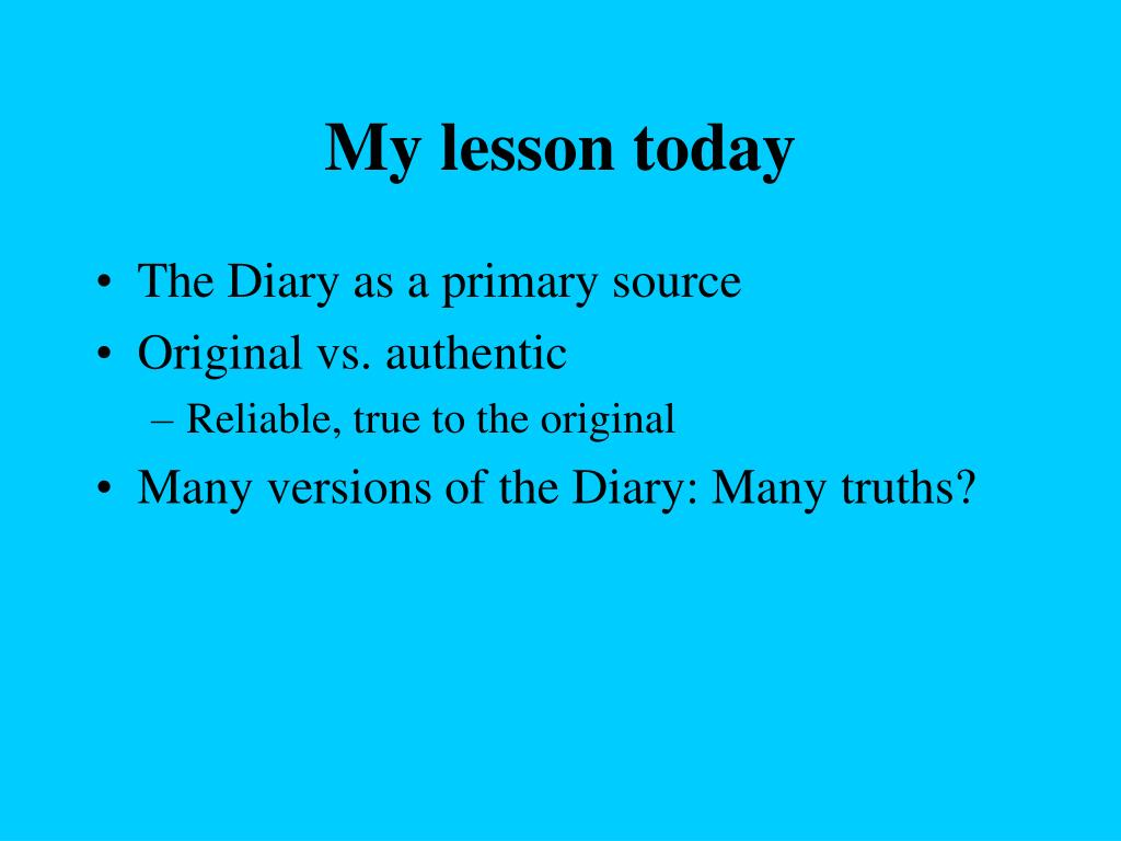 My lesson today