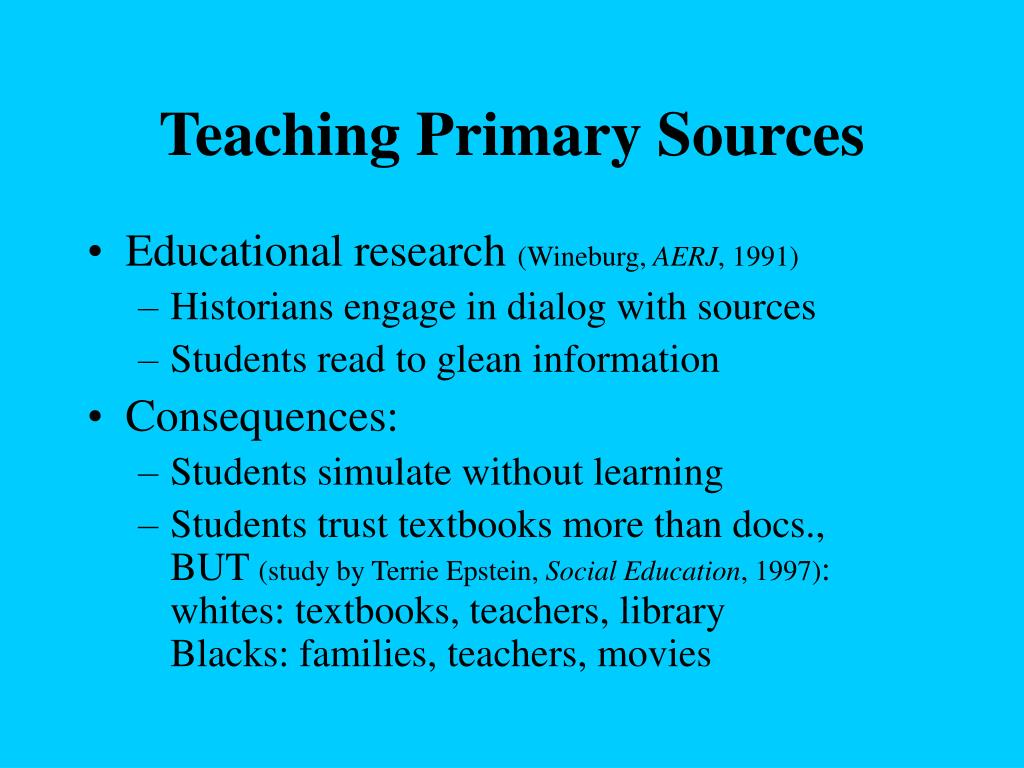 Teaching Primary Sources