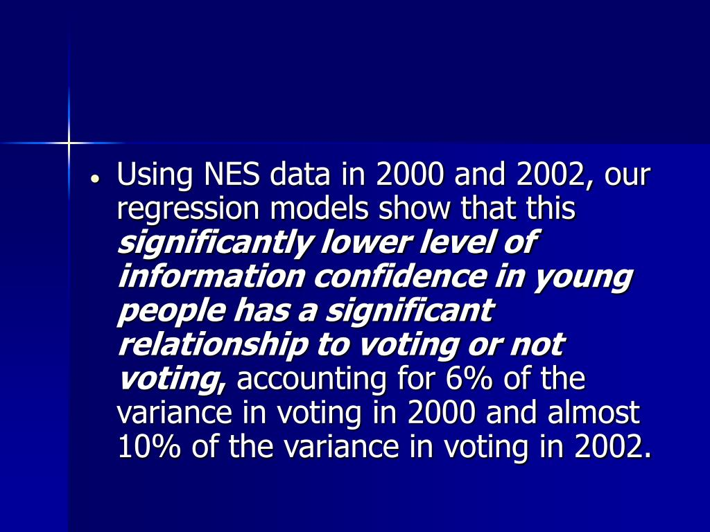 Using NES data in 2000 and 2002, our regression models show that this