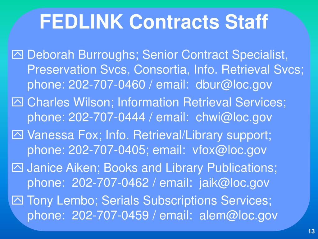 FEDLINK Contracts Staff
