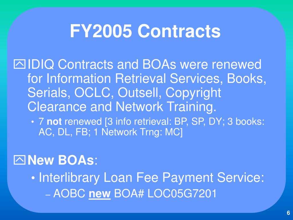 FY2005 Contracts