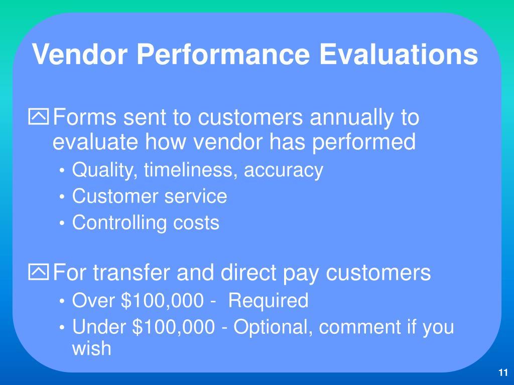 Vendor Performance Evaluations