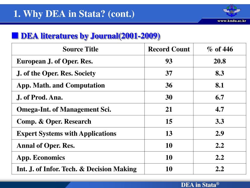 1. Why DEA in Stata? (cont.)