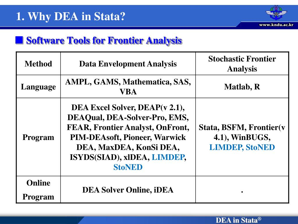 1. Why DEA in Stata?