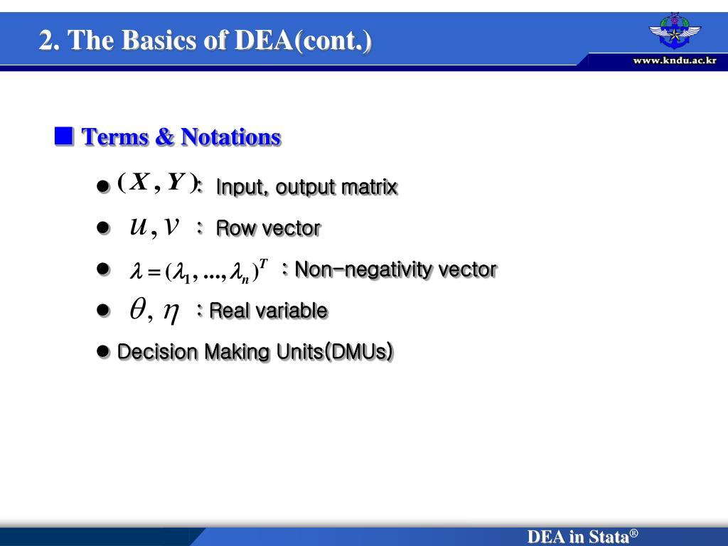 2. The Basics of DEA(cont.)