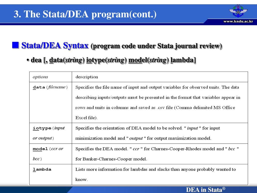 3. The Stata/DEA program(cont.)