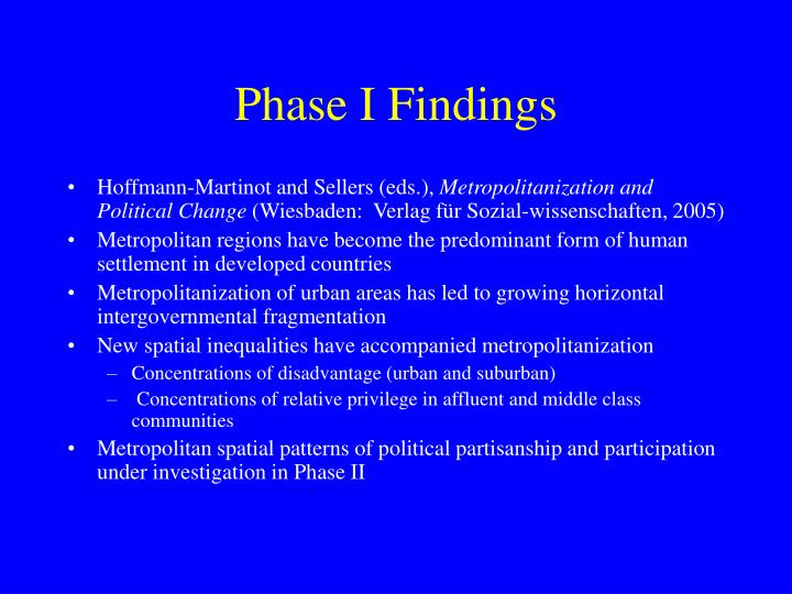 Phase i findings