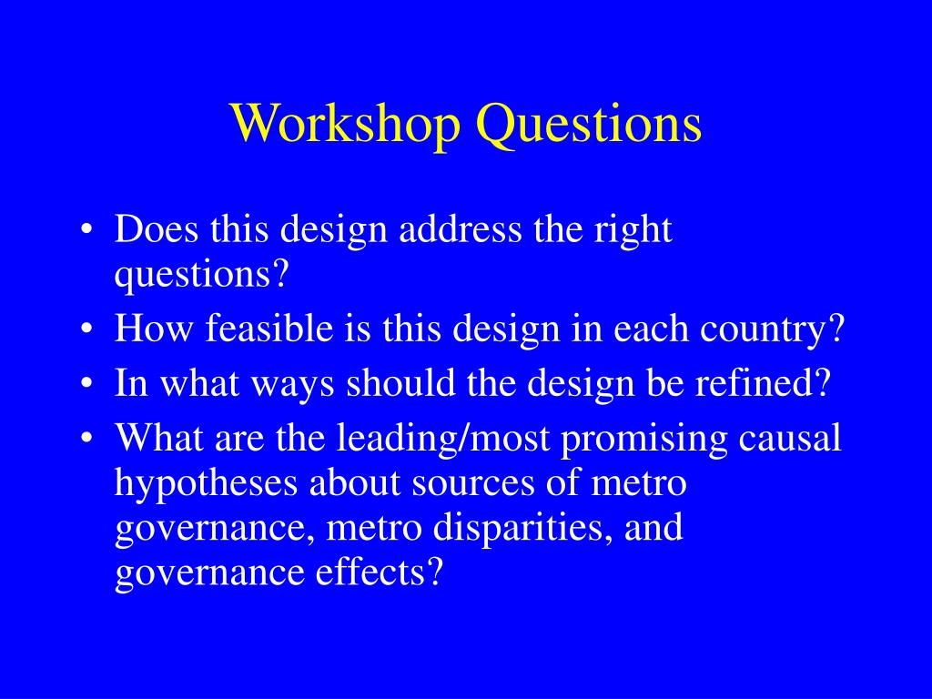 Workshop Questions