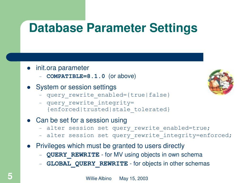 Database Parameter Settings