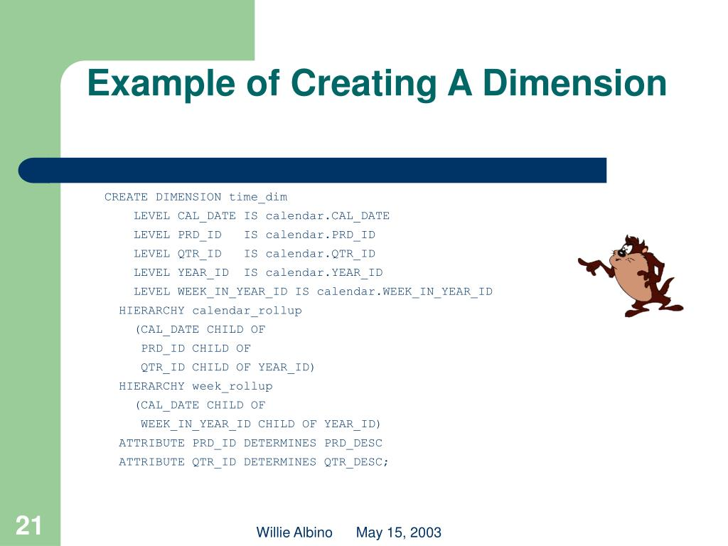 Example of Creating A Dimension