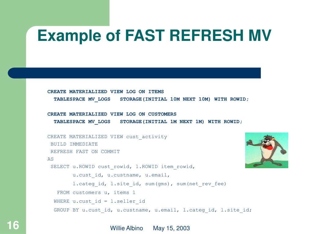 Example of FAST REFRESH MV