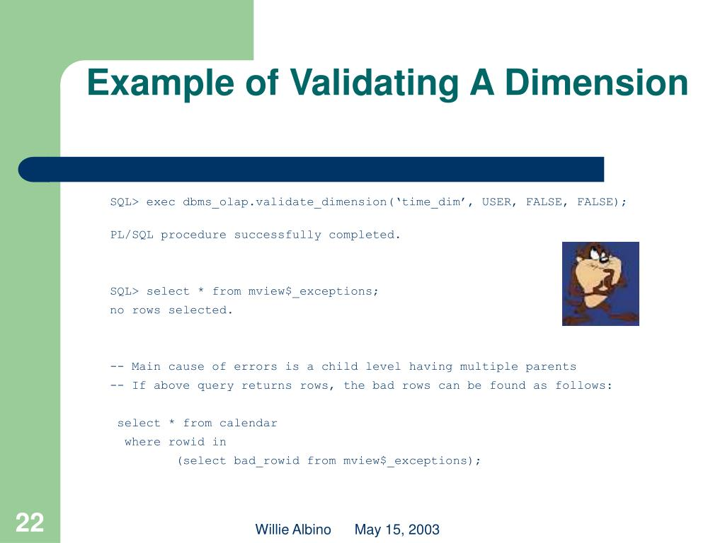 Example of Validating A Dimension