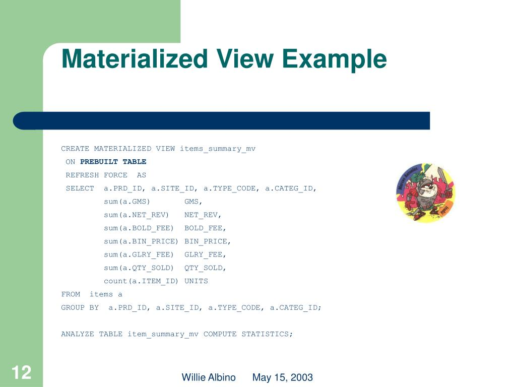 Materialized View Example