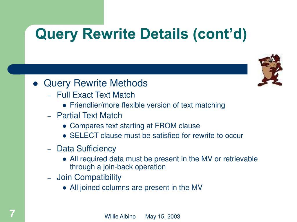 Query Rewrite Details (cont'd)
