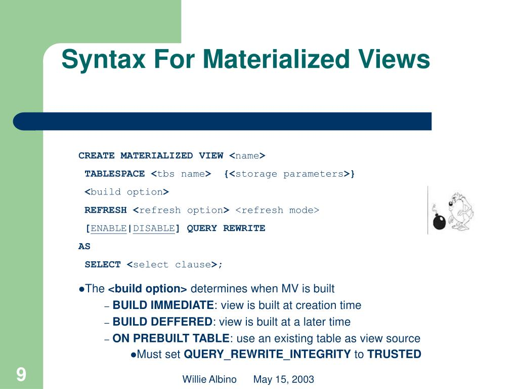 Syntax For Materialized Views