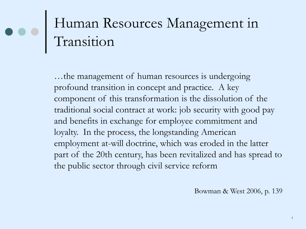 Human Resources Management in Transition