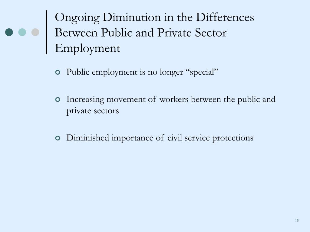 Ongoing Diminution in the Differences Between Public and Private Sector Employment