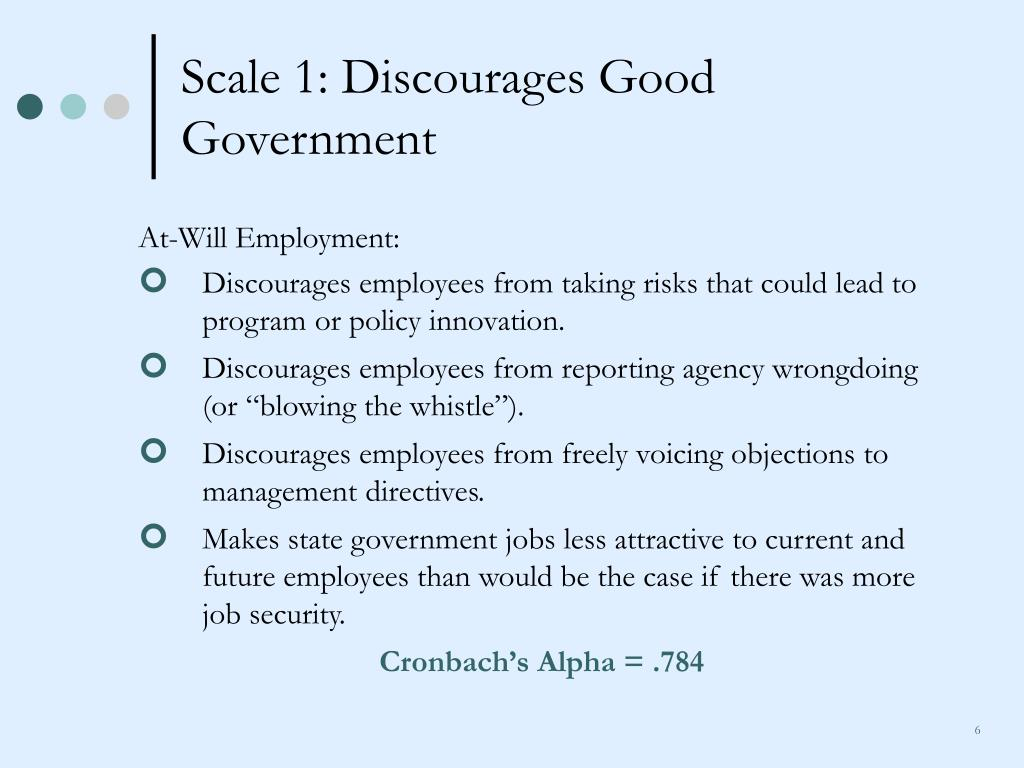 Scale 1: Discourages Good Government