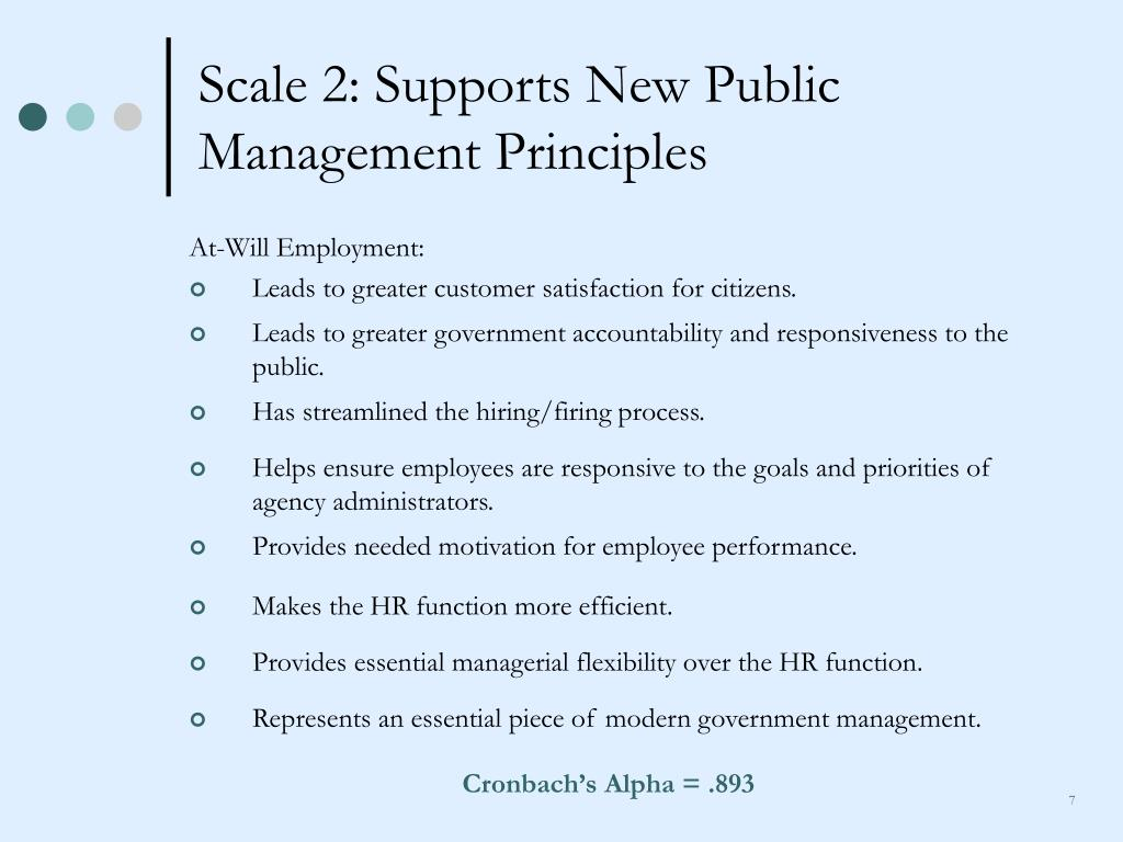 Scale 2: Supports New Public Management Principles