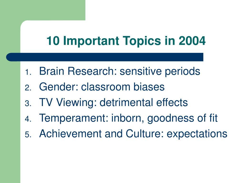 10 Important Topics in 2004