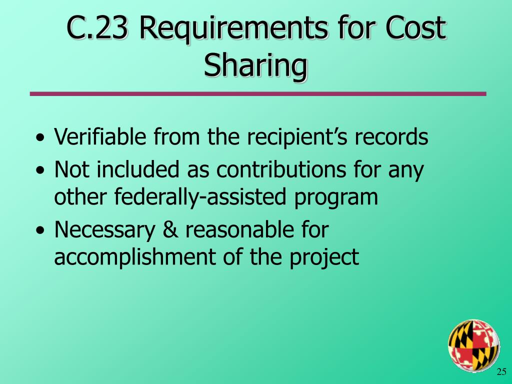 C.23 Requirements for Cost Sharing