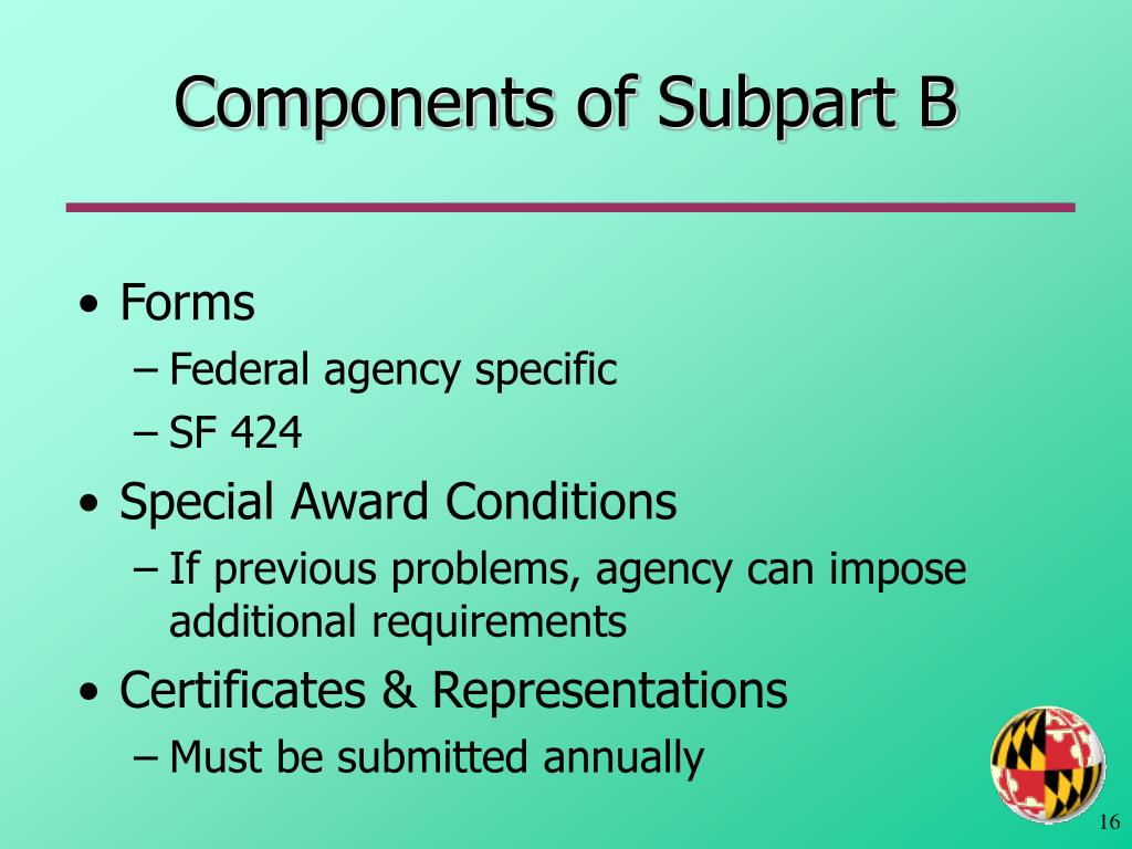 Components of Subpart B